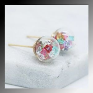 Jewelry - Glass Ball Crystal Filled Stud Earrings